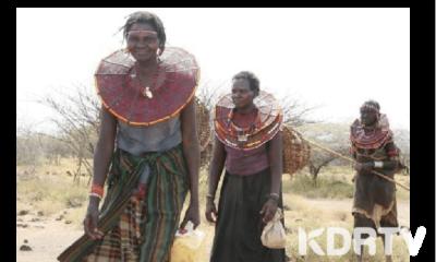 Pokot women walking through pastureland wearing their iconic ornate beadwork