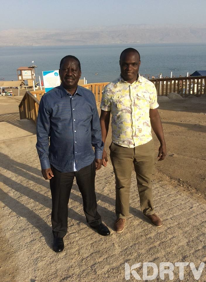 Raila Odinga with NASA CEO Norman Magaya