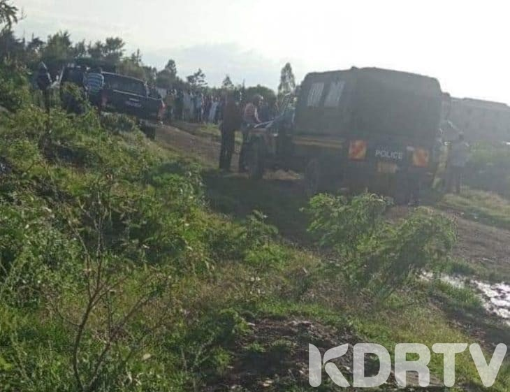 The crime scene where the bodies of Syombua and her two children were found buried. Photo K24