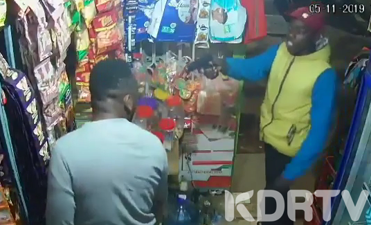 The police are hunting for two armed thugs who shot and injured a man at an M Pesa in the Kasarani area.