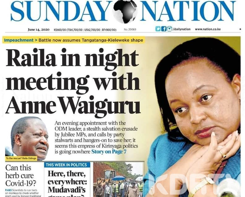 Raila Odinga denies meeting Anne Waiguru