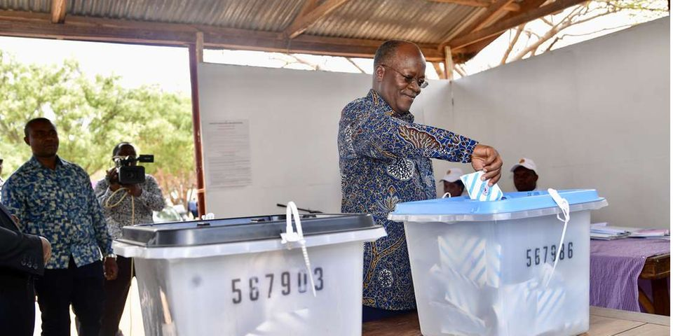 President Magufuli casts his vote