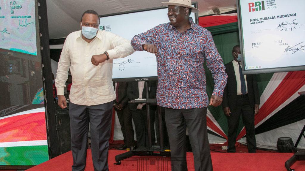 Uhuru and Raila during launch of BBI Signatures