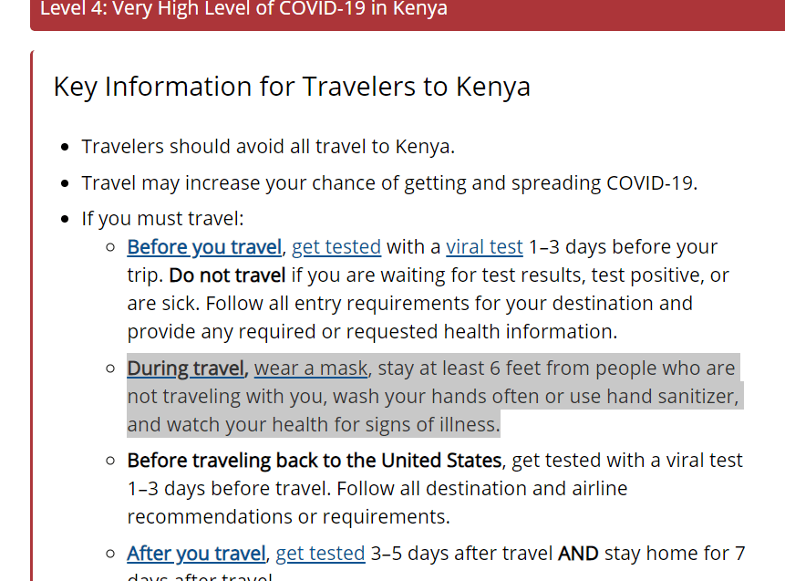 US Warns Citizens Against Travelling to Kenya